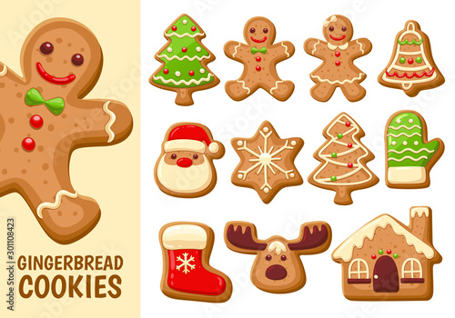 Gingerbread cookie collection. Set 1. Canvas-taulu