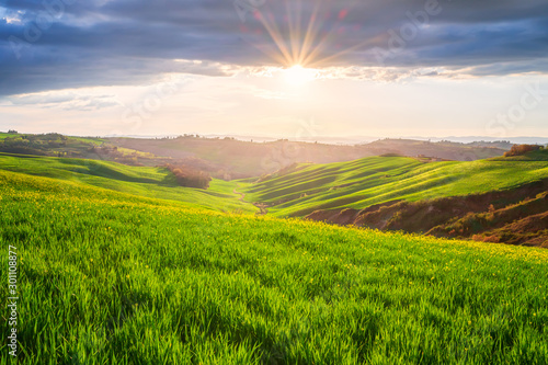 Amazing spring landscape with sun's rays touching the endless green rolling hills of Tuscany at sunrise