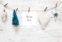 Christmas And New Year Decorations. Xmas Garland With Greeting Card.