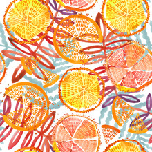 Orange Fruits Seamless. Hand Drawn Fresh Tropical Plant Waterecolor Illustration.