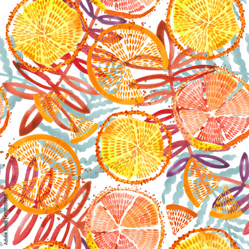 orange fruits seamless. Hand drawn fresh tropical plant waterecolor illustration. - 301109866