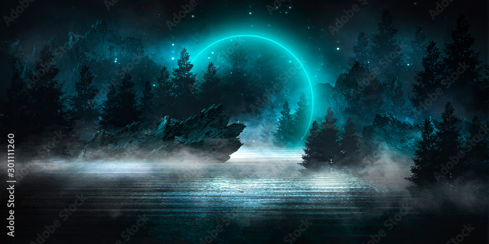 Fototapety, obrazy: Futuristic night landscape with abstract landscape, dark forest, mountains, moonlight, shine. Dark natural scene with reflection of light in the water, neon blue light. Dark neon circle background. 3D