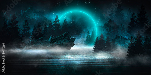 Fotografia Futuristic night landscape with abstract landscape, dark forest, mountains, moonlight, shine