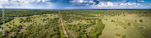 Aerial view panorama of typical Pantanal landscape with Transpantaneira, meadows Canvas Print