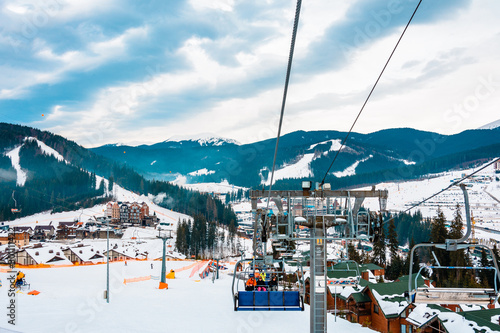 Ski lifts of holiday complexes Poster Mural XXL