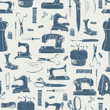 Sewing Tools, Seamless Pattern...