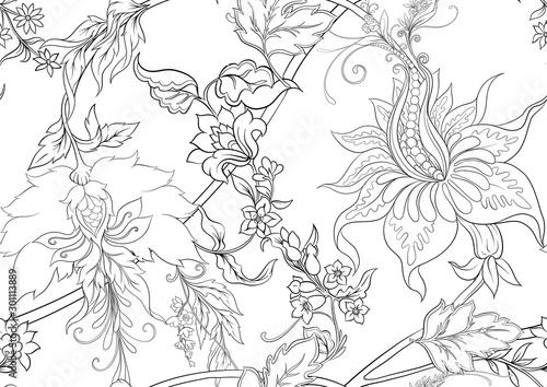 Fantasy flowers in retro, vintage, jacobean embroidery style Tablou Canvas