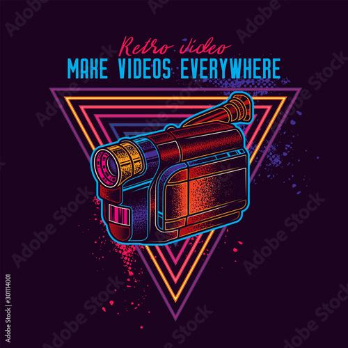 Fotografija  PrintRetro VHS video camera. Vector illustration in neon style.