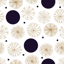 Cute Winter Seamless Pattern With Gold Decorative Snowflakes And Polka Dots.