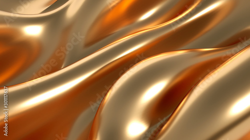 Luxury background with metal drapery fabric. 3d illustration, 3d rendering. - 301117637