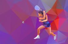 Female Squash Player Polygonal...