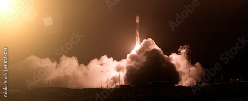 Obraz Rocket and light. The elements of this image furnished by NASA. - fototapety do salonu