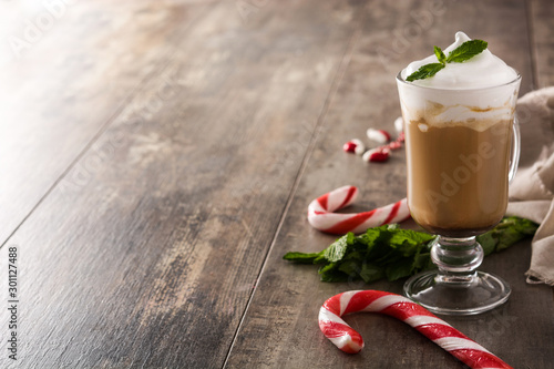Peppermint coffee mocha for Christmas on wooden table Wallpaper Mural