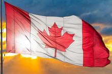 Canadian Flag Waving In Dramat...