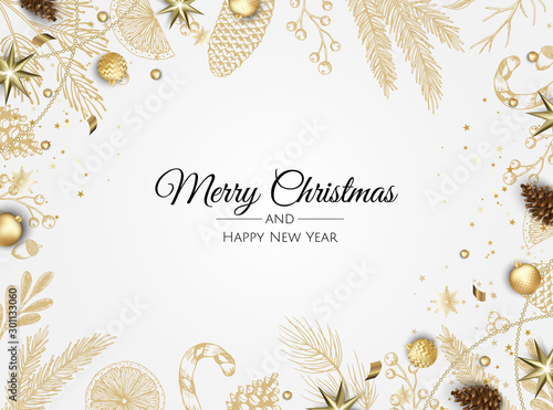 Christmas vector background. Xmas sale, holiday web banner. - 301133060