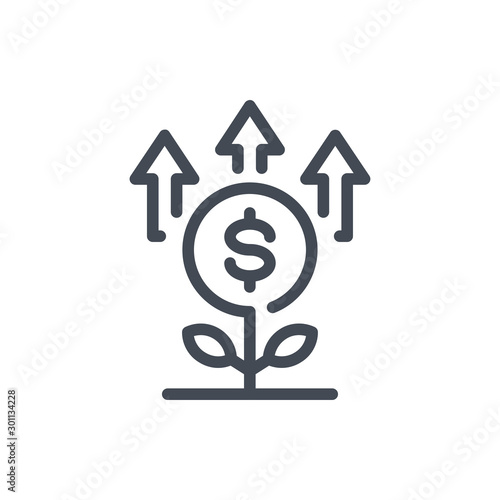 Obraz Financial investments line icon. Money plant growth vector outline sign. - fototapety do salonu