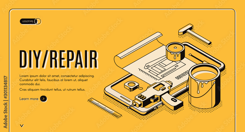 Fototapeta Diy repair isometric landing page, engineering construction service tools for house renovation on huge mobile phone screen. Architect building company service, 3d vector web banner template, line art