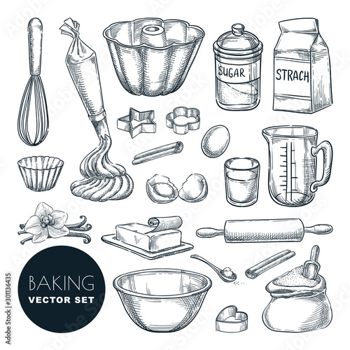 Photo Baking ingredients and kitchen utensil icons
