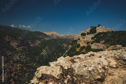 The Nimrod Fortress or Nimrod Castle is a medieval Ayyubid castle situated on the southern slopes of Mount Hermon, on a ridge rising about 800 m above sea level Canvas Print
