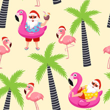 Christmas Tropical Pattern With Santa Claus And Flamingo. Vector Seamless Texture.