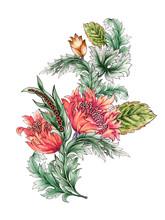 Set Of Decorative Tulip Floral...