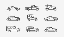 Retro Car Icon Set. Transport,...