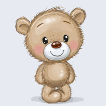 Cartoon Teddy Bear Isolated On A White Background