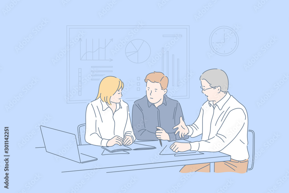 Fototapeta Office meeting, business session, cooperation, teamwork concept. Planning work together, businesspeople, colleagues discussing question, coworkers making common decision. Simple flat vector