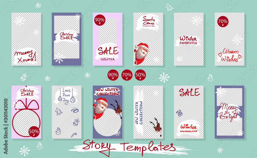 Fototapeta Christmas Trendy editable Stories template. Design for social media. Vector. Santa Claus and reindeer with snowflakes