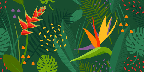 Vector abstract seamless tropical flowers pattern and background. Colors green, yellow, orange. Exotic flowers monstera, strelitzia, palm, plants, leaves, jungle