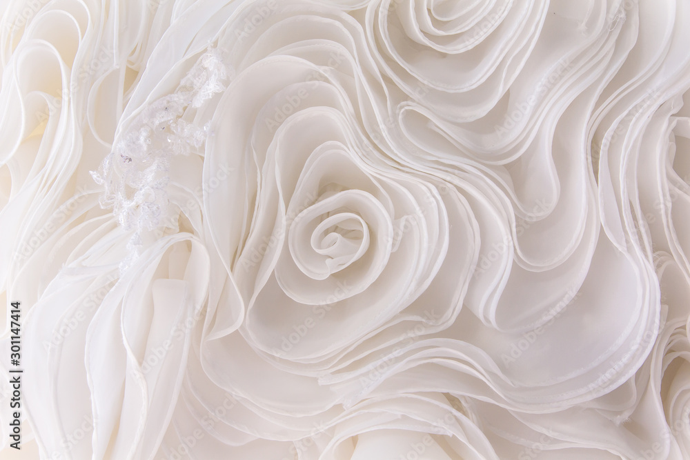 Fototapety, obrazy: Details of the bride dress fabric and beautiful embroidery wedding concept used as a background for illustrations