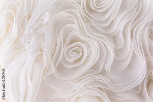 Fotografie, Tablou  Details of the bride dress fabric and beautiful embroidery wedding concept used