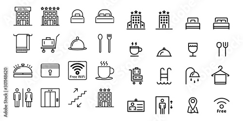 hostel and hotel icons Vector illustration Canvas Print