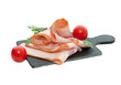 canvas print picture - Slices of raw bacon on black stone background
