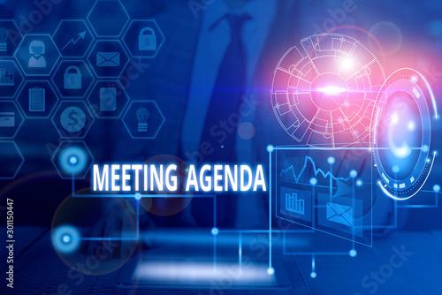 Handwriting text writing Meeting Agenda Canvas Print