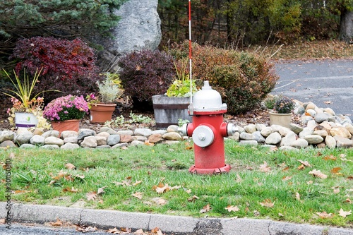 FIRE HYDRANT  with an arrester in a residential area painted in red and white