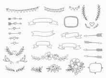 Hand Drawn Set Of Design Eleme...