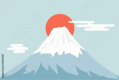 Keuken foto achterwand Lichtblauw 富士山と日の出
