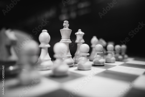 Monochrome shallow depth of field (selective focus) image with wooden chess pieces on a wooden table before a professional competition Canvas Print