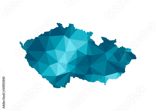 Fotografie, Tablou Vector isolated illustration icon with simplified blue silhouette of Czech Republic map