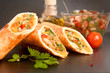 canvas print picture - Home-made Meat and vegetables wrapped in a tortilla - close up