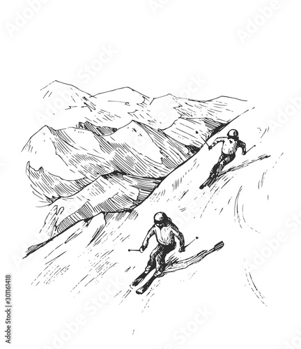 Cuadros en Lienzo Sketch of mountains and skiers