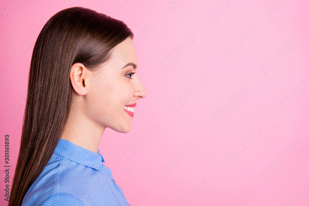 Fototapeta Profile photo of amazing business lady looking empty space glad to see colleagues after vacation wear blue dotted shirt isolated pink color background