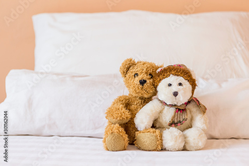 Obraz na plátně  Cute little fluffy brown and white teddy bear on the bed with space on white pil