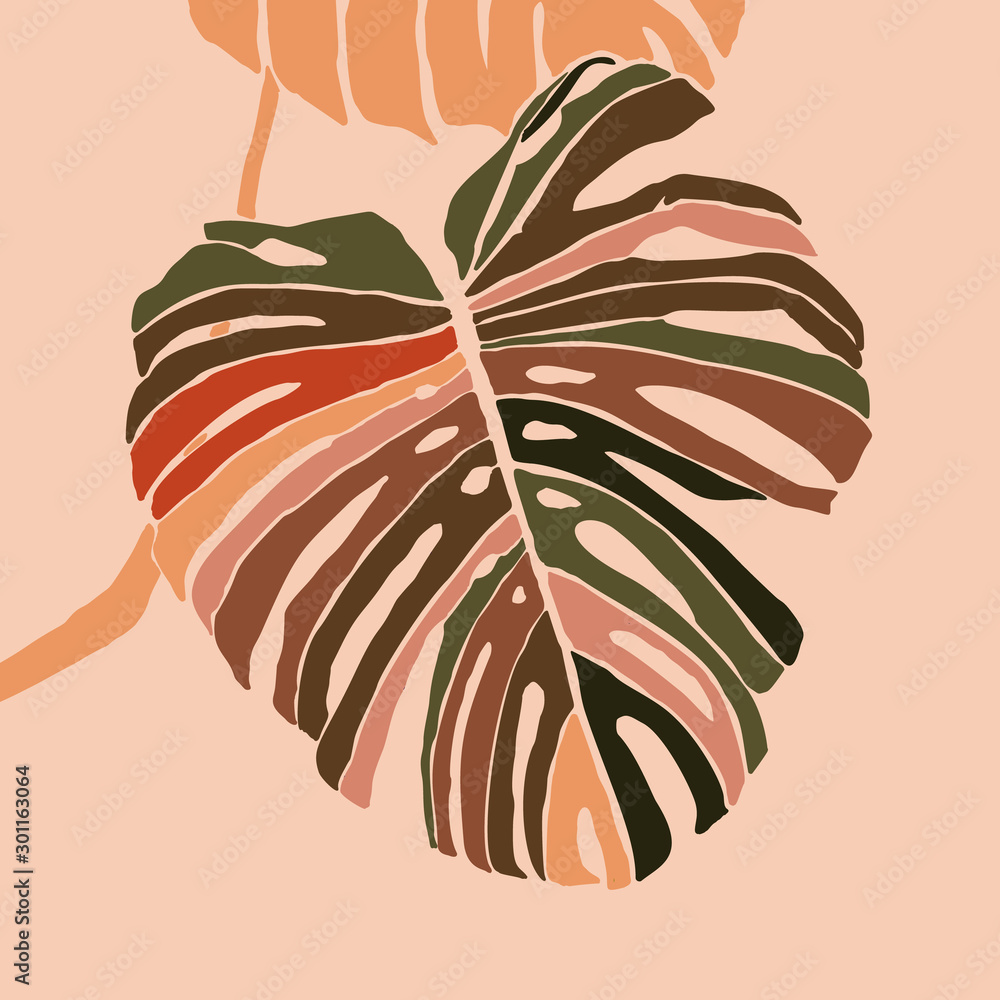 Fototapeta Tropical monstera leaves in a minimalist trendy style. Silhouette of a plant in a contemporary simple abstract style. Vector illustration collage. For t-Shirt Print, card, poster, social media post