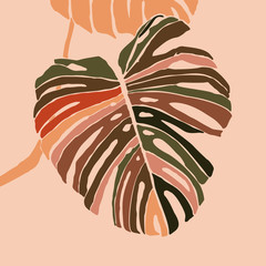 Panel Szklany Do pokoju dziewczyny Tropical monstera leaves in a minimalist trendy style. Silhouette of a plant in a contemporary simple abstract style. Vector illustration collage. For t-Shirt Print, card, poster, social media post