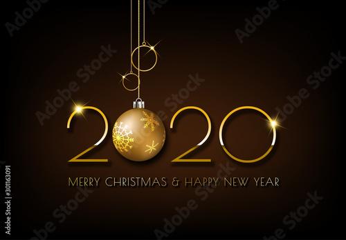 Obraz Merry Christmas, Gold 2020 design on dark brown background - fototapety do salonu