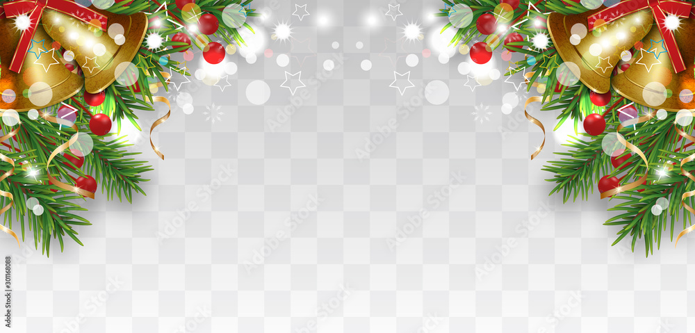 Fototapeta Christmas and Happy New Year decoration with Christmas tree branches, golden bells and holly berries, gold ribbons. Bright border on transparent background. Vector