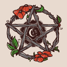Wiccan Element. Graphic Pentag...