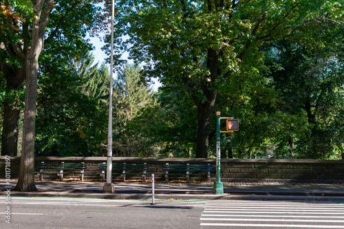 An Empty Crosswalk to Central Park in New York City Fototapet